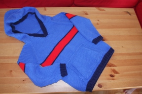 sporty jumper for a big boy with hood and kangaroo pocket